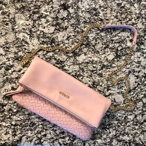 NWT Guess Pink Woven Flap Crossbody